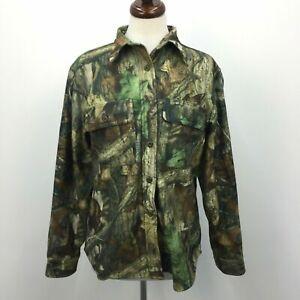 Cabelas Advantage Timber Green Camo Print Womens Hunting Shirt Button Front Sz M
