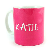 PINK PERSONALISED WITH ANY NAME GIFT MUG CUP PRESENT LOVER COLOUR BRIGHT HOT