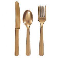 24 X Dorado Plástico Juego de Cubiertos Cuchillos Tenedores Cucharas 8 de Cada