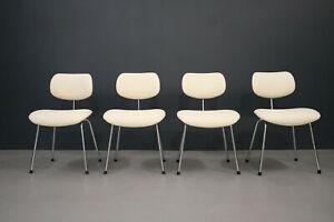 Egon Eiermann 4 X Chair Se 68 Wilde & Spieth Faux Leather Creme White