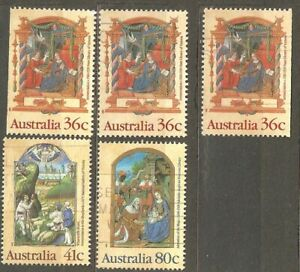 Australia: full set of 3 + 2 used stamps, Christmas, 1989, Mi#1177A-D, 1178-9A
