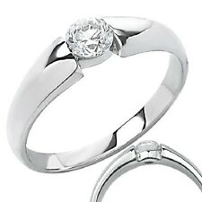 Stainless Steel Compression Set Engagement Promise Ring Clear CZ sz 9.5 c16