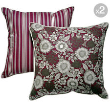 Set of 2. Burgundy Floral + Burgundy Stripes Cushion Covers - 45x45cm