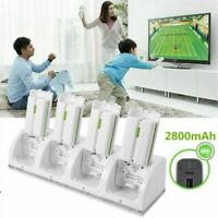 4x Rechargeable Batteries & Charger Dock Station For Wii Remote Controller White