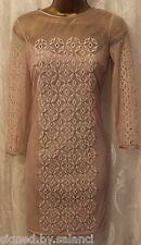 Karen Millen Embellished Mesh Lace CutWork Sleeve Pencil Party Shift Dress 10 38