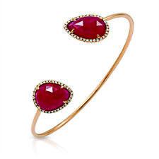 Rose Cut Sliced 12.45 CT Ruby 0.35 CT Diamonds 14K Rose Gold Bangle »NP1