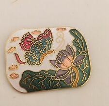 Butterfly Brooch Pin (808) Cloisonne Multi Color Enamel Flower