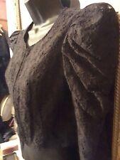Goth black lace cropped Jacket 12~leg o'lamb statement sleeves~ vgc ~ Steampunk