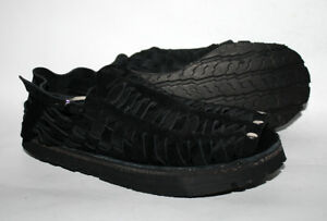 Treads 1970's Retro Style Men's Shoes Sandals Hand Made Black Suede Leather