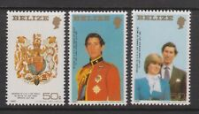 1981 Royal Wedding Charles Diana MNH Stamp Set Belize Lg Format Perf SG 617-619
