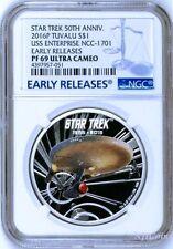 2016 Star Trek 50th Ann. U.S.S. Enterprise NCC-1701 Silver $1 Coin NGC PF69