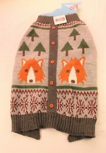 Vibrant Life Warm Knit Dog Sweater Foxes Grey NWT