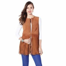 IMAN Platinum Jet, Set! Genuine Suede Fringe Vest XS $300 NEW SOLD OUT!
