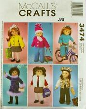 "McCall's 3474 Sewing Pattern 18"" Assorted Doll Clothes Fits American Girl Dolls"