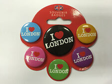 PACK PACKET OF 6 X BADGES SET OF I LOVE LONDON PIN BADGES NEW AND PACKED PIN