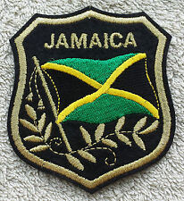 JAMAICA FLAG IN SHIELD PATCH Embroidered Badge 7cm x 8cm West Indies Caribbean
