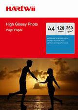 100 Sheets + 20Free A4 260Gsm High Glossy Photo Paper Inkjet Paper Hartwii Print