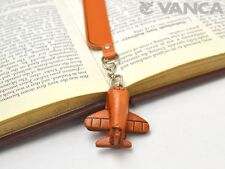 Airplane Leather Charm Bookmarker *VANCA* Made in Japan #61561