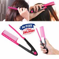 Hair Straightener Folding V Comb Straightening Brush Styling Hairdressing Salon