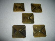New listing 5 Large Vintage Square Buttons.Greenish Brown.Plastic