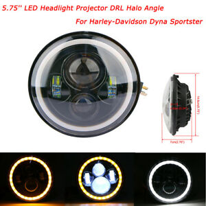 """5-3/4"""" 5.75 Projector Headlight LED DRL Light Yellow&White Halo Angle Motorcycle"""