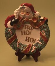 """Fitz and Floyd Essentials """"Ho! Ho! Ho!"""" Santa Plate for Cookies, Candy, Canapes"""