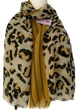 Leopard Print Scarf Mustard Yellow Brown Animal Print Striped Ladies Large Wrap