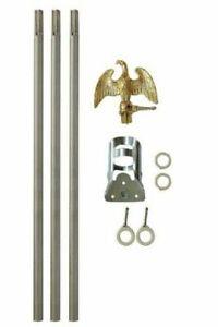 6' Ft Residential Flag Pole Kit Tangle Free No Furl Rings (NO FLAG)
