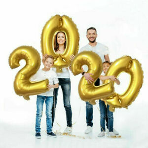 """Giant 32"""" 2020 Numbers Foil Balloons New Year Eve Decorations Ribbons Baloons"""