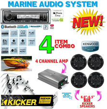 KENWOOD MARINE BOAT BT KMR-M322BT RADIO + 4 X KICKER MARINE SPEAKERS + 600W AMP