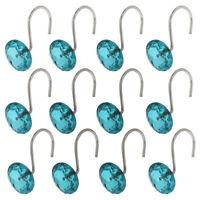 12 X Crystal Window Curtain Ring Hook Shower Curtain Hook Drape Hanger Green