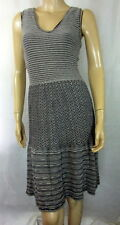 Anthropologie KNITTED & KNOTTED Sparkly Gray Zigzag TEST PATTERN Knit Dress S