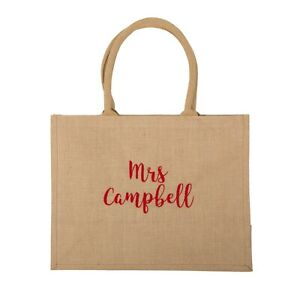 Large embroidered jute teacher bag, teacher gift, personalised teacher gifts