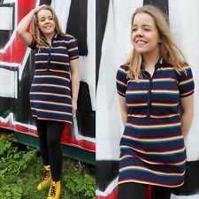 Rainbow Stripe Jersey Dress by Run and Fly in Navy Retro Cute LGBT Pride