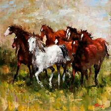 """""""High Meadow"""" by Elena Bond (Fine Art Painting on Canvas Decorative Horses)"""