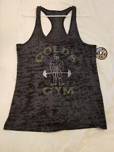 Womans Golds Gym Tank Top Muscle Shirt Bodybuilding Sz XL Transparent Blk/Gray