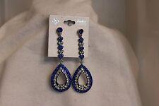Blue And Clear Rhinestone Dangle Post Earrings By Sophia