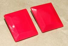 """VTG Mid Century Modernist Red Glass Clip Earrings Made in Western Germany 1.25"""""""