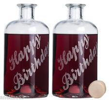 2 leere gravierte Glasflaschen 0,5L Happy Birthday Likörflaschen