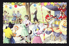 Artist Design Cat Postcard Cats Playing Music in Band Garden Party Dancing Stage
