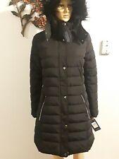 TOMMY HILFIGER Women's Hooded /Faux Fur Trim Coat Pufer Jacket-Black Size -M