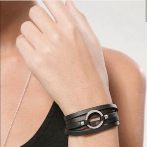 O-Ring Leather Wrap Bracelet Black