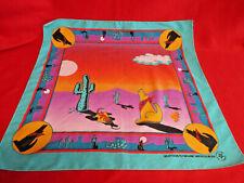 Vintage Bandana Hav-A-Hank Western Southwestern Coyote Cactus Crafted USA EUC!