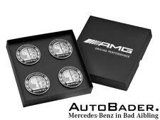 Original Mercedes AMG Radnabenabdeckung Wappen 4er Set silber schwarz Raddeckel