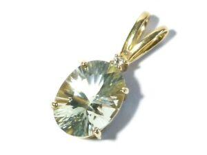 Vintage 375 9k Yellow Gold Pendant Large Light Blue Gemstone & White Sapphire