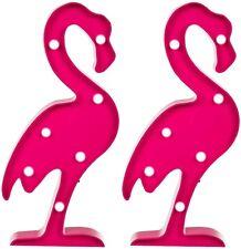 2x Kunststoff-Flamingo 7 warm-weiße LEDs Dekolampe Dekolicht Stimmungslicht pink