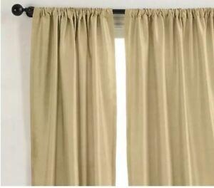"Set Of 2 Pottery Barn Dupioni Silk Pole Top Curtain Panels Drapes 50""X124"" GOLD"