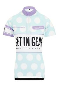 Girls Cycle Jersey, Get In Gear, Polka Dot, Short Sleeve Age 12/14 Adult XS