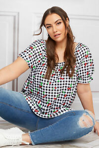 Limited Collection Women's  Black Gingham Cherry Broderie Anglaise Milkmaid Top