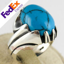 925 Sterling Silver Turkish Handmade Turquoise Stone Men's Ring All Sizes